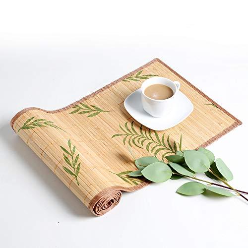 LOVECASA Bambus Tischläufer, Tischläufer abwischbar Tischband Bambus 135 x 30 cm Tischdecken,Tischläufer bumbusmatte
