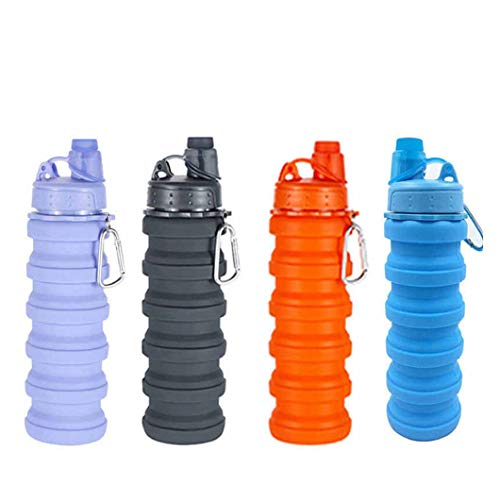 Trendegic Portable Foldable Silicon Collapsible Sports Water Bottle Glass Cup for School Hiking Picnic Outdoor Multicolour