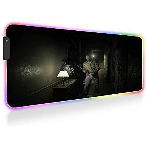 Resident Evil Alfombrillas de ratón para Juegos RGB Extra Grande Antideslizante LED Que Brilla Intensamente 14 Modos de Luces Alfombrilla de Teclado de Computadora 35,43 X 15,74 X0,16 Pulgadas