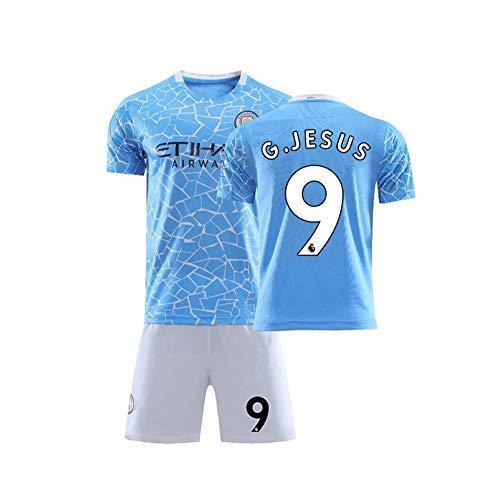 PAOFU-Conjunto de Camiseta de Fútbol Manchester City 2020 para Hombre # 9 Gabriel Jesus Fanáticos Fútbol Aficionado Ropa Deportiva Ropa de Entrenamiento,Azul,S