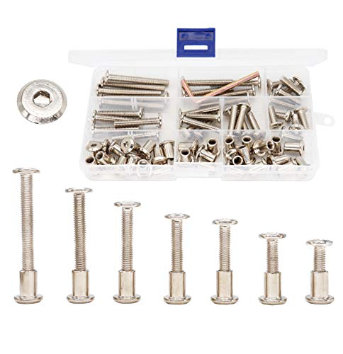 Nickel Plated M6 Hex Drive Socket Cap Bolts Kit, cSeao 35-Set Allen Head Countsunk Furniture Crib Bolts Nuts Kit, M6x15mm/ 20mm/ 25mm/ 30mm/ 35mm/ 40mm/ 50mm