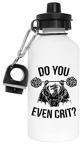 Do You Even Crit Dragon Botella de Agua Blanco Aluminio Reutilizable Water Bottle White Aluminium Reusable