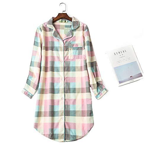 Misscoo Damen Nachthemd aus Baumwolle, langärmelig, mit Knopfleiste, Flanell-Nachthemd (fünf Größen) Gr. Medium, 01 CN: 24-26