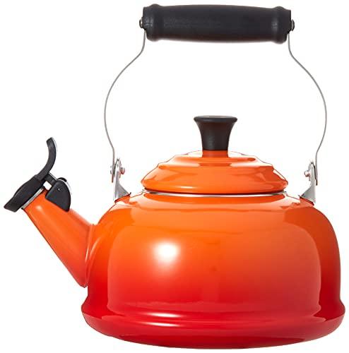 Le Creuset Enamel-on-Steel Whistling 1.7 Quart Teakettle, Flame