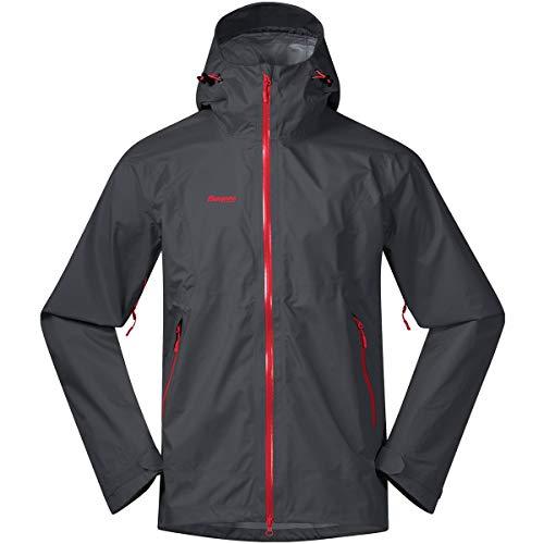 Bergans Letto M Jacket Grau, Dermizax™ Regenjacke, Größe XXL - Farbe Solid Dark Grey - Fire Red
