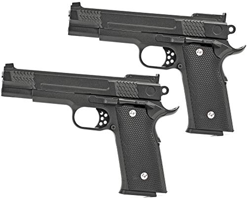 Evil Wear Doppelpack Softair Gun Airsoft Vollmetall Federdruck Pistole 1:1 ca. 19cm Inkl Magazin 0,5 Joule Gürtel