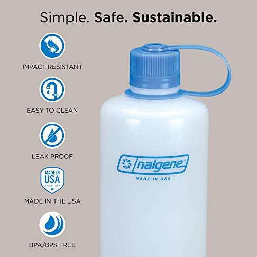 Nalgene HDPE Narrow Mouth BPA-Free Water Bottle, Clear, 32 oz