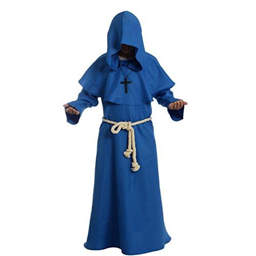 BLESSUME Priester Mönch Kostüm Robe Mönch Mittelalterliche Kapuze