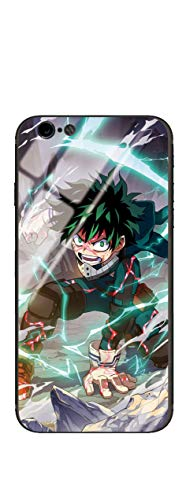 Blacklove Case for Apple iPhone, My Hero Academia Midoriya Izuku 9H Tempered Glass Back Cover with TPU Frame Protective Case (iPhone 7/8/SE)