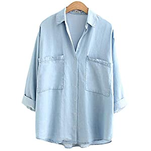 Women's Soft Tencel Denim Shirts Baggy Collared Button Down Blouses