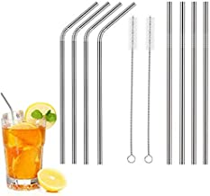 Metal Drinking Straws, Stainless Steel, Pack of 8 Straws, with 2 Cleaning Brushes. 6mm. Dishwasher Safe.