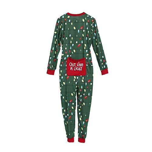 Familie Winter Schlafoverall Jumpsuit Damen Herren Kinder Onesie Nachtwäsche Schlafanzüge mit Knöpfleiste Weihnachtspyjama Hausanzug Freizeit Jogging Anzug (Damen, S(Mom))