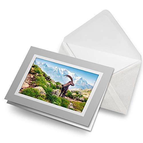 Impresionante tarjetas de felicitación gris (inserto) – Alpine Ibex Mont Blanc Francia tarjeta de felicitación en blanco, cumpleaños para niños y niñas #16280