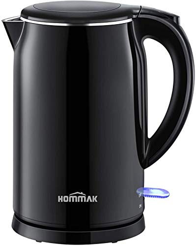 Hommak Electric Kettle,1.7L Double-Layer Anti-Scalding Stainless Steel Hot Water Kettle,1500W Fast Boiling Electric Tea Kettle, BPA-Free Keep Warm Hot Water Boiler, Automatic Shutdown, and Anti-Drying
