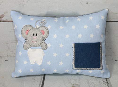 Zahnfee Kissen Zahnfee Maus Milchzahn mit Namen personalisierbar blau handgemacht ca. 16 cm x 11 cm x 4 cm