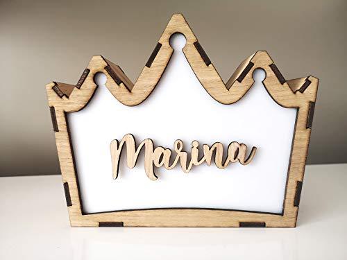 KARIVOO Lampara corona artesanal de madera personalizada con iluminación RGB (colores), mando a distancia y conexión con app móvil para niño (quitamiedos), bebé o adulto (Corriente)
