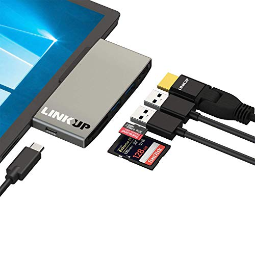 LINKUP - Surface Pro 7 Compatible SD Card Micro Memory Reader Adapter Hub | 6-in-1 Docking Station | 4K HDMI, SD/MicroSD Card Slots, 2 x USB-A 3.0, 1 x USB-C Ports |