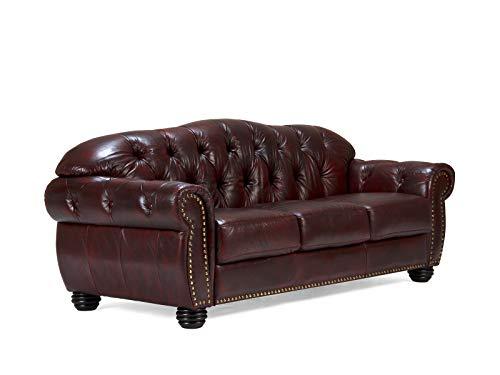 Woodkings® Chesterfield Hereford Sofa 3-Sitzer Echtleder Couch Bürosofa Polstermöbel 3er antik Unikat Herrenzimmer englisches Ledersofa Stilsofa Clubsofa (antik rot)