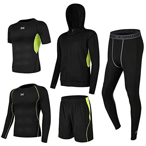 Superora 5 Pezzi Fitness Palestra Completi Sportivi Uomo Abbigliamento Sportivo Pantaloni Compressione Maglie Maglietta Pantaloncini Corsa Leggings Set Uomo (Verde, XL=EU M)