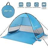 Glymnis Strandmuschel Pop Up Strandzelt mit Einer Abschließbaren Tür UV Schutz 50+ Sonnenschutz für 1-3 Personen Blau