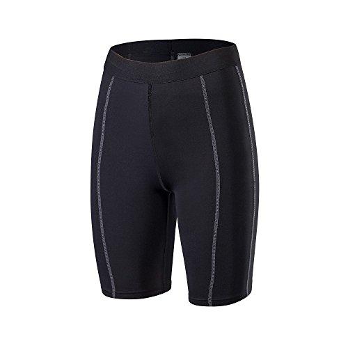 Barrageon Pantalón Corto Tight de Comprensión para Mujer Mallas de Deportivos Secado Rápido Fit para Ejercicio Gimnasio Entrenamiento Cruzado Correr Yoga Jogging Negro-XL