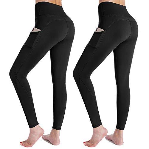 G4Free 2 Paquetes Leggings para Mujer Pantalones Deportivos de Cintura Alta Medias Opacas Ropa de Calle con Bolsillos para Correr Invierno