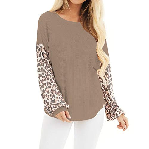 Meikosks Womens Leopard Colorblock Long Sleeve T Shirt O Neck Loose Tops Knitting Blouses Coffee
