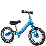 LosSimMass Bicicleta De Equilibrio para Niños, Marco De Aleación De Aluminio De 12 Pulgadas, Adecuada para Niños De 2 A 6 Años, Asiento Ajustable (Color : Blue)