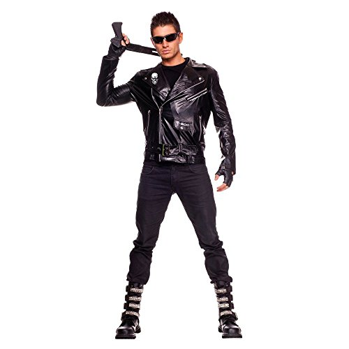 The Terminator Arnie Costume for Men, Medium. Includes jacket with Terminator logos