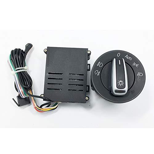 ASDFHUIOX Interruptor de Luces de automóvil + Chromo Auto Sensor LUZ/Ajuste para Passat B5 Bora Polo Golf 4 Nuevo Jetta Beetle 5ND 941 431 B (Color : Black)