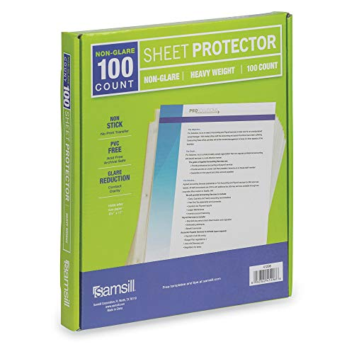 Samsill 100 Non-Glare Heavyweight Sheet Protectors, Reinforced 3 Hole Design Plastic Page Protectors, Archival Safe, Top Load for 8.5 x 11 Inch Sheets, Box of 100 (Renewed)