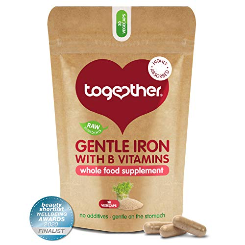 Gentle Iron – Together Health – Whole Food Nutrients – Iron and B Vitamins – Vegan Friendly – Made in The UK – 30 Vegecaps