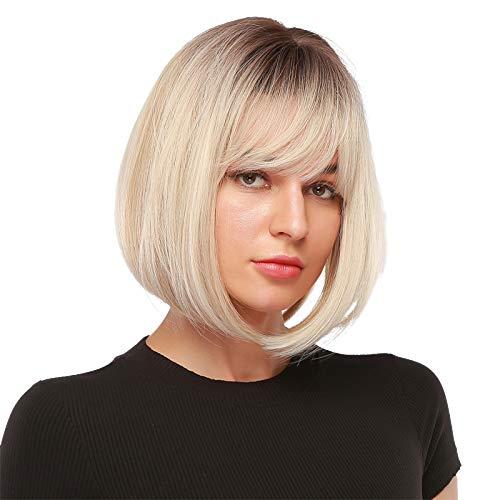 EMMOR parrucca corta bionda per le donne - Parrucche ombre sintetiche naturali con frangia, uso quotidiano per cosplay per feste (2 pezzi di protezione per parrucca gratuita)