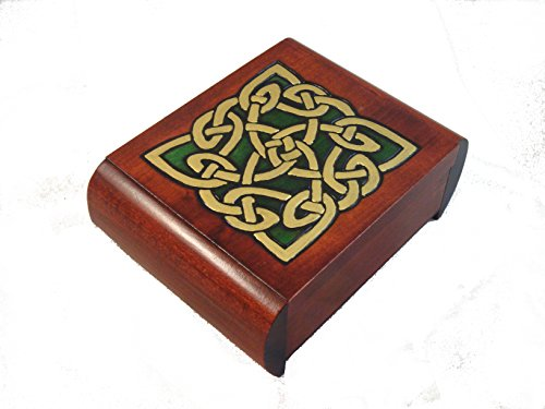 Celtic Dream Eternity Knot Secret Jewelry Keepsake Polish Wood Box
