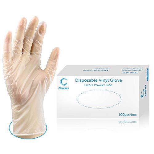 Clinivex Clear Vinyl Gloves, Box of 100pcs, Latex-Free, Powder Free Disposable Gloves (Medium)