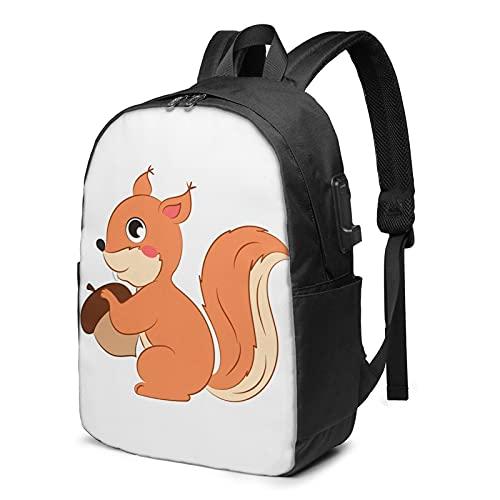 Sac à dos avec motif d'écureuil de dessin animé, sac à dos pour ordinateur portable, sac à dos de voyage avec port de chargement USB pour homme et femme 43,2 cm, comme sur l'image, Taille unique,
