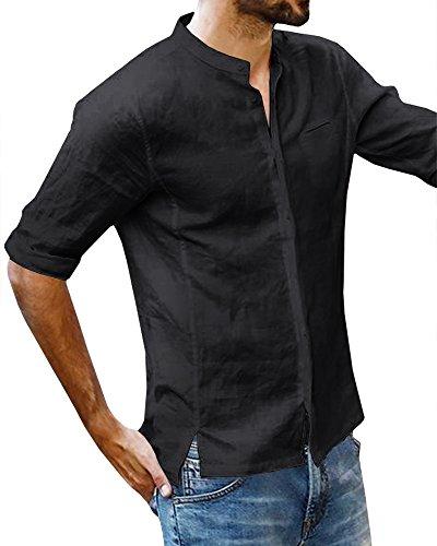 Romancan Herren Kurzarm Freizeithemd 3/4 Ärmel Sommer Casual Atmungsaktiv Shirt
