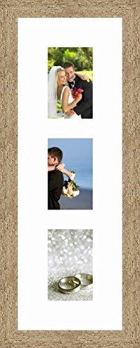 Cadres Photos pêle mêle multivues Super Blanc 3 Photo(s) 10x15 Passe Partout, Cadre Photo Mural 20x60 cm Naturel Beige, 3.5 cm de Largeur