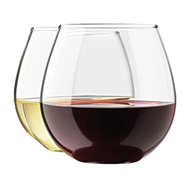 Stemless Wine Glass by Royal Set, 4-Pack, 15 Ounce Wine Tumbler Set