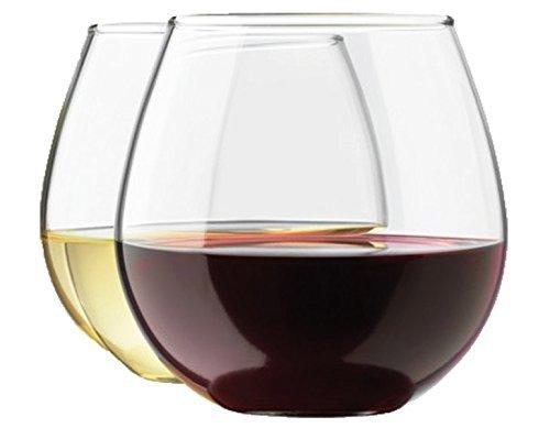 Royal Stemless Wine Glass Set, 8-Pack, 15 Ounce Wine Tumbler Set, Glass