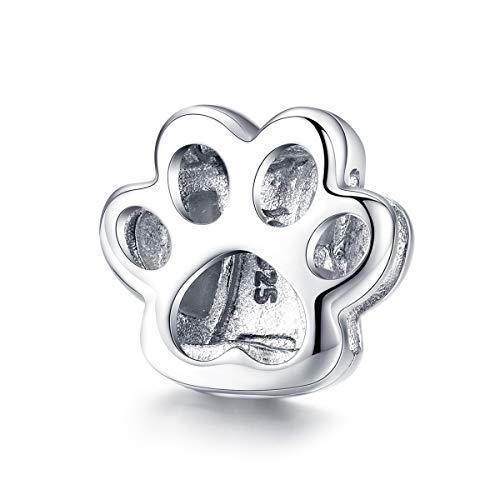 Ningan Reflexions - Abalorio de plata de ley 925 con diseño de gato y huella de animal para...