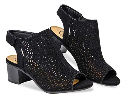 MVE Shoes Women's Open Toe-Ankle Low Heeled-Sandals, Elect Black NBPU 10
