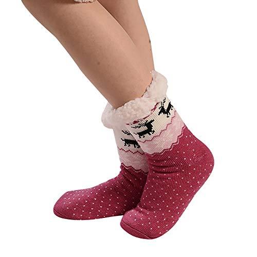 Winter Damen Nicht Gleiten Strick Fleece Gefütterte Warme Slipper-Socken Pantoffel Socken Dicke Haussocken Anti Rutsch Sohle Plüsch Niedliches Tier Weihnachten Innen-Socken Geschenk Einheitsgröße