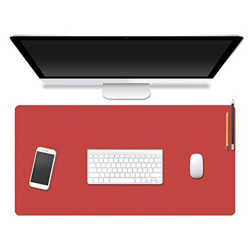 Eono Essentials Alfombrilla de ratón antideslizante, impermeable, de piel sintética, doble cara, uso de color para PC, juegos en casa, oficina, Rojo/Amarillo, 80cm * 40cm