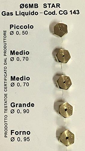 Ugelli Gpl 6 MB Universale Diametro mm. 6Mb, Tipo gas Gpl bombola (GRANDE, 2 MEDI, PICCOLO, FORNO)