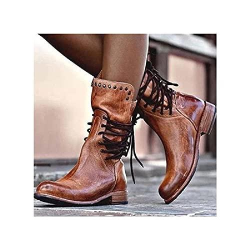 JUNSHANG Botas de Vaquero Occidental para Mujer, Botas de Jinete de Tubo de Cabeza de Heel Cuadrado bajo Adecuado para otoño y Primavera,Brown-41