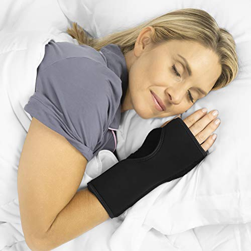 Vive Night Wrist Splint Brace - Left, Right Hand Sleep Support Wrap - Cushion Compression Arm Stabilizer for Carpal Tunnel, Men, Women, Kids, Sleep, Tendonitis, Athletic Sports Pain (Black)