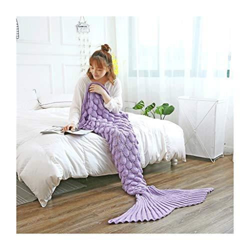 RKRXDH Meerjungfrau Decke Häkeln Handbuch Weich Vier Jahreszeiten Schlafsack Fischschuppen Muster Klimadecke (Color : Light Purple, Size : 140x70cm)
