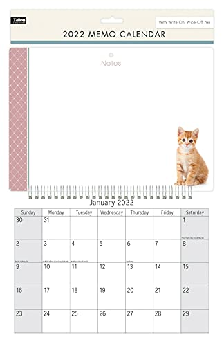 2022 Memo Board Wall Calendar Planner Month to View Hanging Family Organiser with Pen (Cat Design)