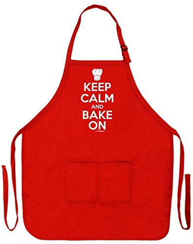ThisWear Keep Calm and Bake On Funny Apron for Kitchen Baker Baking Two Pocket Apron for Women and Men Red